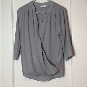 New York & Company 3/4 Sleeve Grey Blouse Top